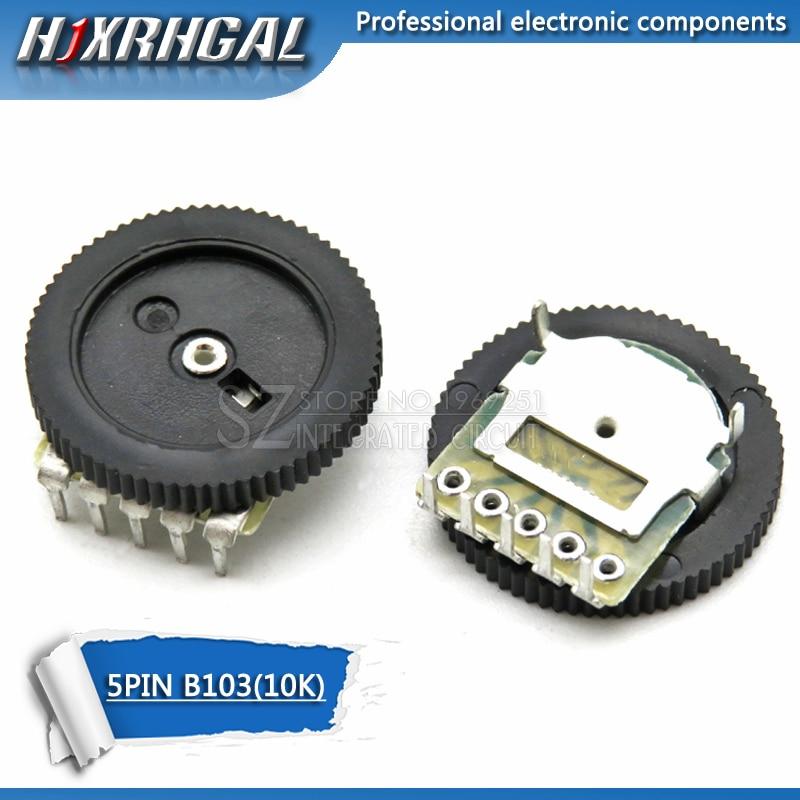 10pcs Double Gear Tuning Potentiometer B103 10K 5Pin 16*2mm Dial Potentiometer Taper Volume Wheel Duplex Potentiometer  Hjxrhgal
