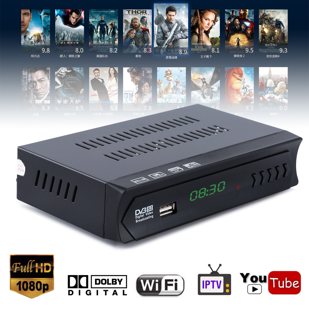 1080P EU Plug DVB-S2 HD TV Receiver Digital Satellite IPTV Combo TV Set Top Box Receiver Support USB WIFI Mayitr best hd iptv box ips2 plus dvb s2 tv receiver 1 year europe iptv 2500 channels dvb s2 usb wifi set top box satellite receiver