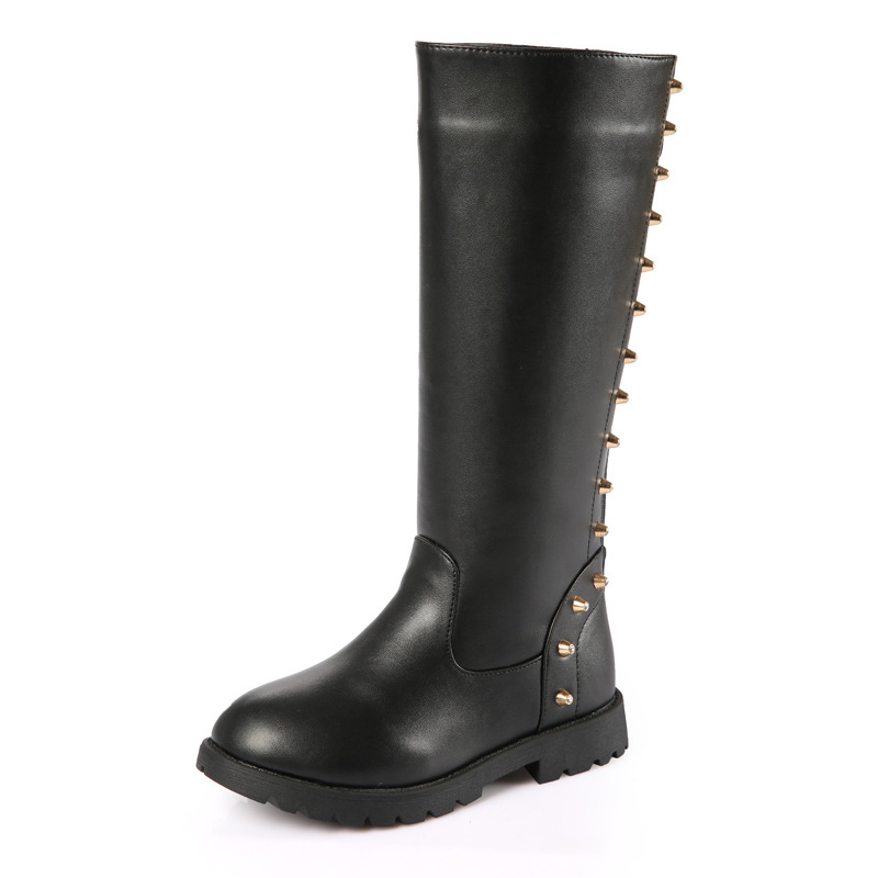 Girls Shoes Snow Knee High Boots for Kids 2017 Winter Quality Children Botas Martin Style with Rivet Big Girls Casual Shoes 2016 autumn leather boots for boys girls children casual shoes kids comfort high quality spring martin boots