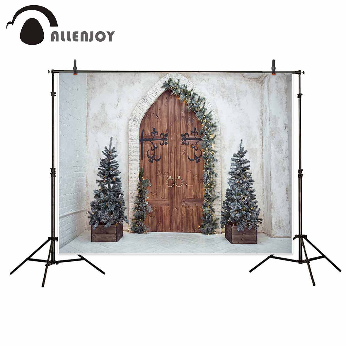 Allenjoy Christmas background Retro vintage Wooden door decoration tree backgrounds for photo studio christmas backdrop