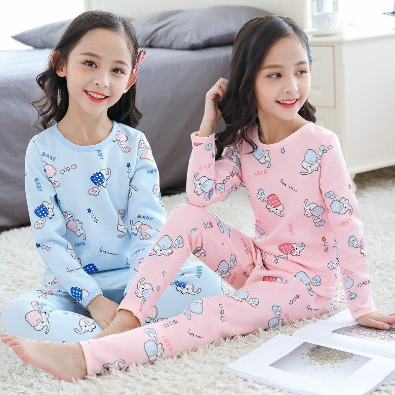 2019 Kinder Herbst Pyjamas Kleidung Set Jungen & Mädchen Elefanten Cartoon Nachtwäsche Anzug Set Weihnachten Pyjamas Kinder Enfant Kleidung HöChste Bequemlichkeit