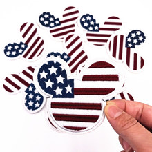 1Pcs Classic Mickey Head Flag Iron On Patch Sewing On Embroidered Applique Fabric for Jacket Badge Clothes Apparel Stickers(China)