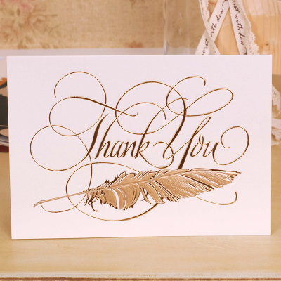 12set thank you theme thanksgiving day card gold feather lucky love
