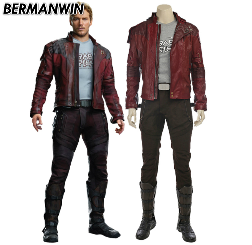 BERMANWIN High Quality Guardians of the Galaxy 2 Peter Quill Star Lord costume Adult Men Halloween Cosplay Costume