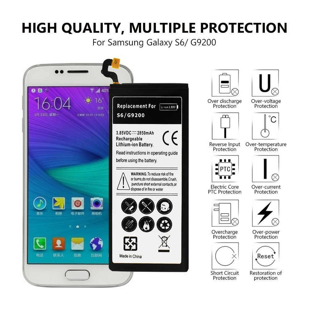2850mAh هاتف ذكي استبدال لى بو بطارية لأجهزة سامسونج غالاكسي S6 G9200 G920f G920i G920A G925S G920P G920V G920T قابلة للشحن