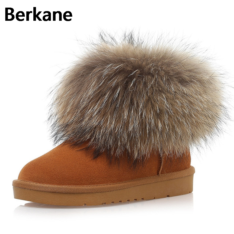 Thickening Waterproof Snow Boots Fox Fur For Women 2017 New Winter Ankle Boots Plush Genuine Leather Warm Sapatos Femiminos Hot genuine leather flat ankle snow boots women waterproof winter shoes keep warm plush fur leather brand platform adult thickening