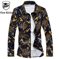 Fire Kirin Men Shirt 2017 Brand Clothing Slim Fit Mens Bird Printed Dress Shirt Luxury 6XL Plus Size Casual Shirts For Men T192