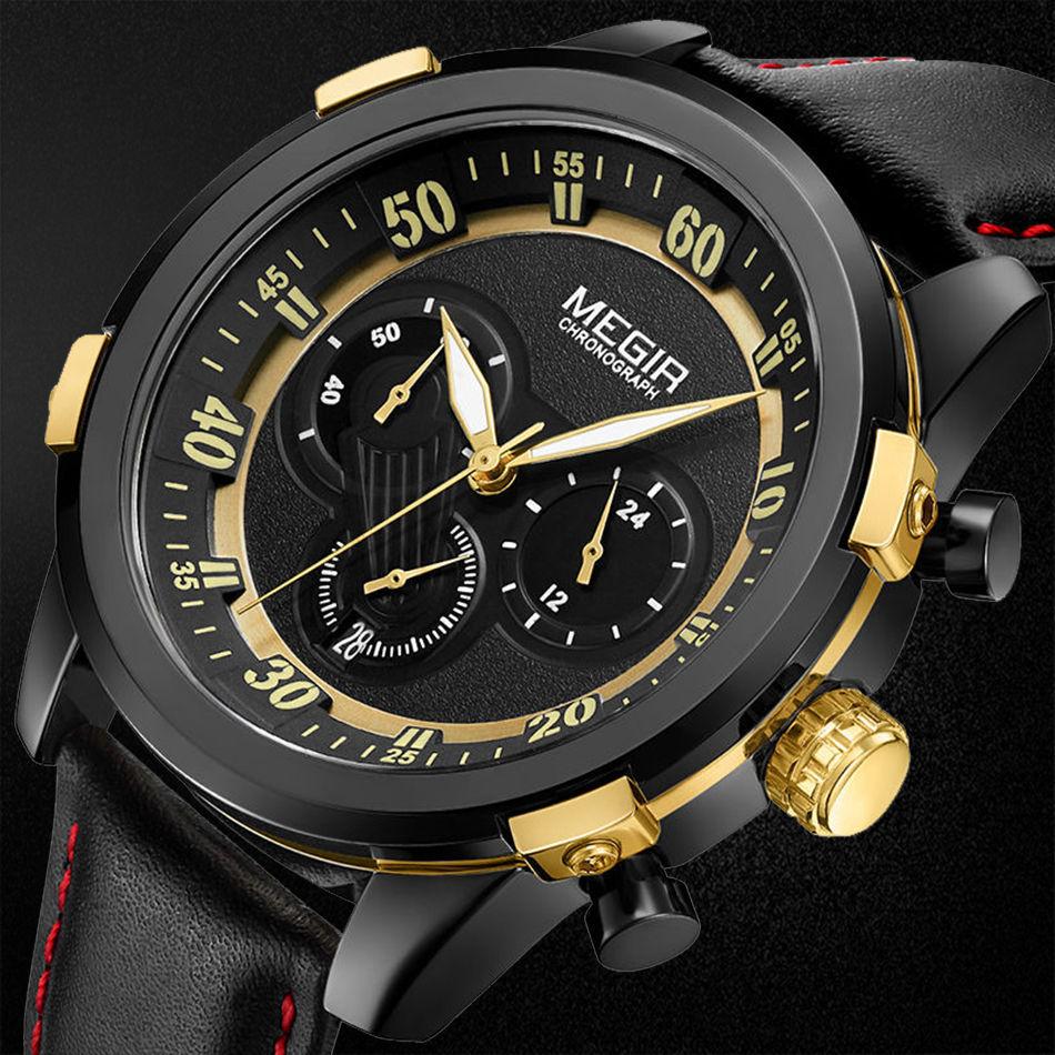 MEGIR Chronograph Sport Watch Men Luxury Creative Quartz Wrist Watches Clock Men Relogio Masculino Army Military Wristwatch цена