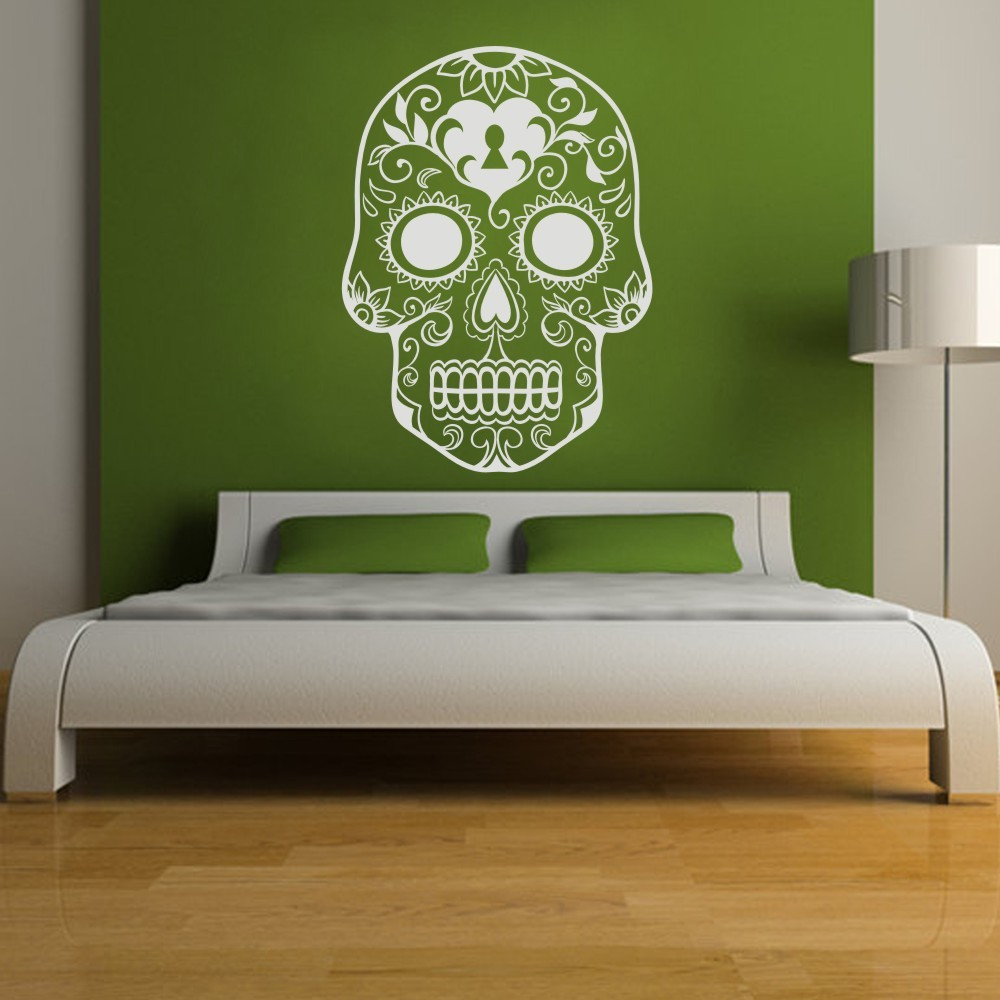 Aliexpress Com Buy Mexican Sugar Skull Wall Art Stickers Home Decoration Vinyl Wall Sticker Decal Adesivo De Parede Home Decor Mural 46 H X33 W From