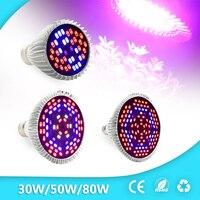 Newest 30W 50W 80W AC85 265V Full Spectrum UV IR E27 LED Grow Light For Flowering