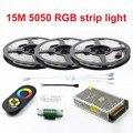 New Decorar 15 Metros Tiras de Led RGB 5050 60 Leds/M Luz natal Fita Não-Impermeável + 18A Controlador de toque RF Dimmer Remoto
