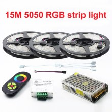 New Decorate 15 Meters RGB Led Strips 5050 60Leds/M christmas Light Non-Waterproof Tape+18A Touch RF Dimmer Remote Controller