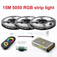 New Decorate 15 Meters RGB Led Strips 5050 60Leds/M christmas Light Non Waterproof Tape+18A Touch RF Dimmer Remote Controller