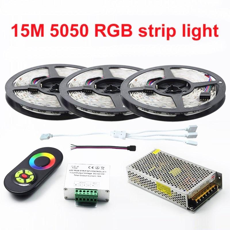 Nouvelle Décorer 15 Mètres RGB ampoules LED 5050 60leds/M Lumière de noël Non-Imperméable Ruban + 18A Tactile Gradateur RF Télécommande