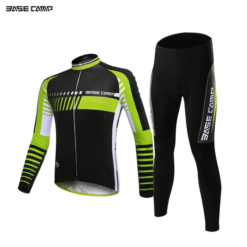 BASECAMP Cycling Jersey Long Sleeves Sets Spring Bike Wear Breathable Bicycle Clothing Riding Outdoor Sports Sponge 3D Padded