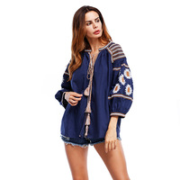 2018 Women Floral Embroidery Blue Blouses Tassels Tine Long Puff Sleeve Loose Long Shirt Special Casual