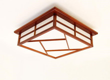 Japanese Tatami Room Lamp LED Ceiling Light Solid Wood Bedroom Square Wooden for Hall, Study Room, Office