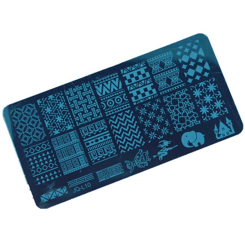 1Pc bricolage ongles beauté dessins en acier inoxydable Image estampage plaques Nail Art modèle timbre décorations outils accessoires # JQ-L10