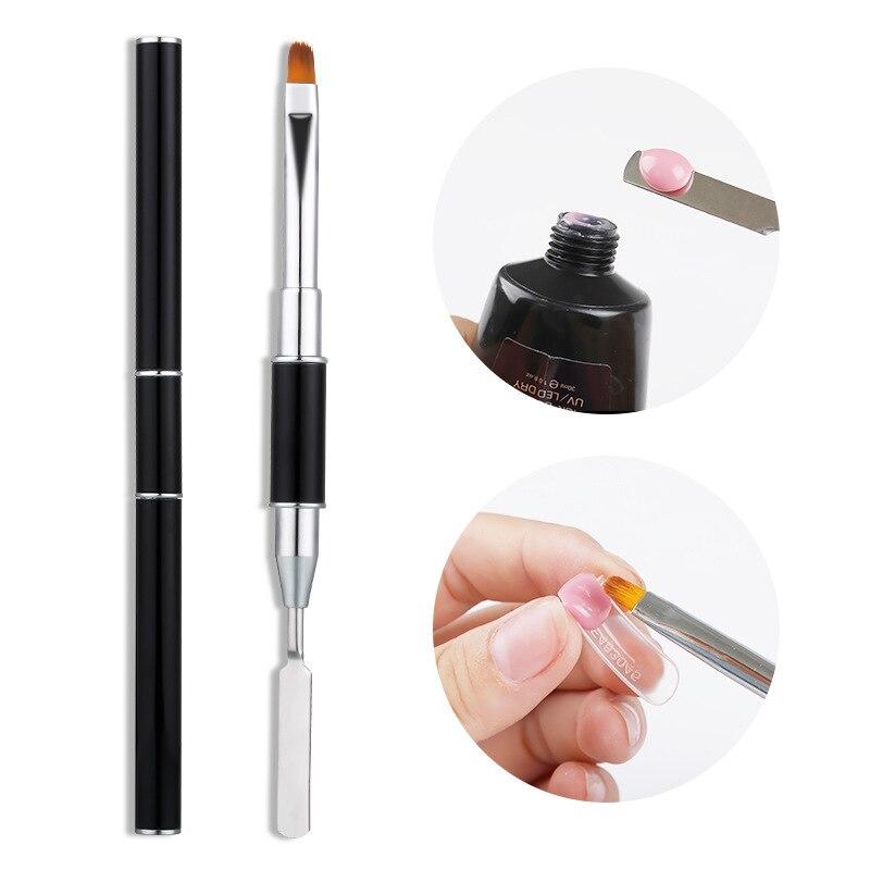 PinPai Double Ways Nail Brush Poly Gel UV Gel Acrylic Polish Brush Builder Gel Nail Art Painting Pen Manicure Nail Tips Tool