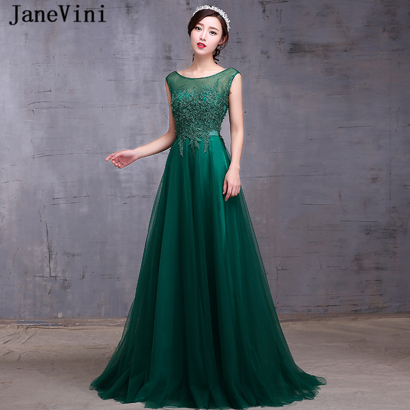 JaneVini Elegant Dark Green Long   Bridesmaid     Dresses   Scoop Neck Cap Sleeves Appliques Beaded A Line Tulle   Dress   Vestiti Damigelle