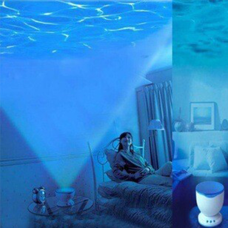 1 Piece Night Light Projector Ocean Blue Sea Waves Projection Lamp With Mini Speaker Ocean Waves Night Light