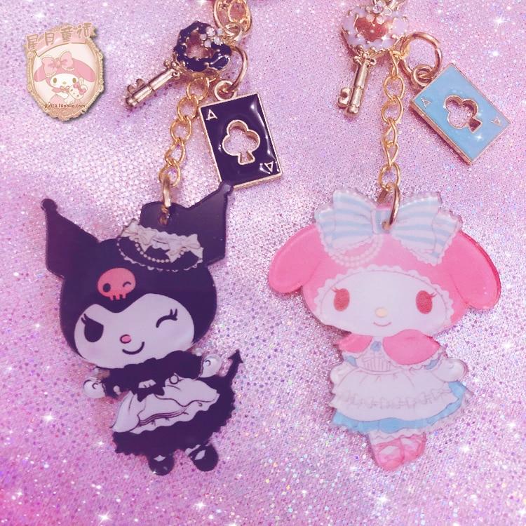 1 Pc Lovely My Melody Cinnamoroll Keychain Japan Kuromi Doll Keyring Girls Gifts