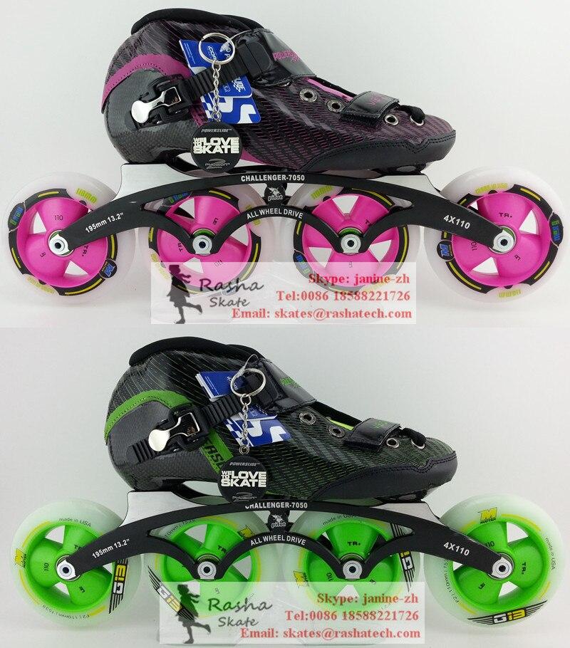 Prix pour Inline chaussures de patinage Professionnel adulte 110mm 100mm patins à roulettes de Patinage De vitesse roues skate hommes femmes patins chaussures