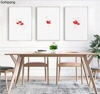 Nordic minimalista Fenicottero Rosso dipinti comodino parete della pittura murale sfondo decorazione 3 pezzi dipinti su tela Senza Cornice