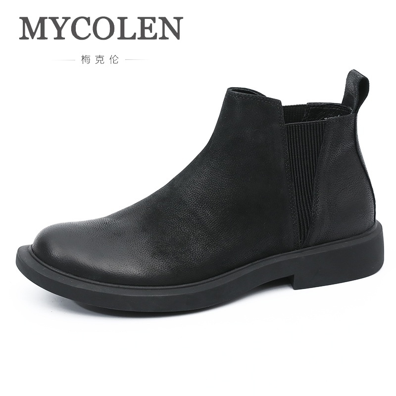 MYCOLEN Autumn And Winter Chelsea Boots Men Fashion Brand Leather Retro Boots Men Slip On Short Boots Tenis Masculino AdultoMYCOLEN Autumn And Winter Chelsea Boots Men Fashion Brand Leather Retro Boots Men Slip On Short Boots Tenis Masculino Adulto