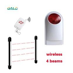 Bezprzewodowy czujnik 4 wiązki aktywny detektor podczerwieni IR 20m zewnętrzny obwód ściany bariera ogrodzenia z alarmem lampy w Czujnik i detektor od Bezpieczeństwo i ochrona na