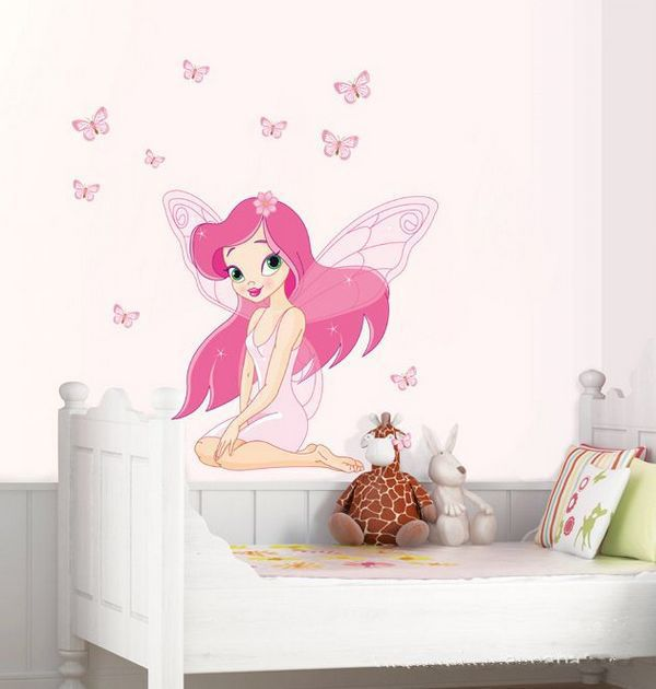 10pcs/lot Tinkerbell Wall Sticker Fairy Tale Girl Butterfly Mural Decals  For Kidu0027s Room Removable