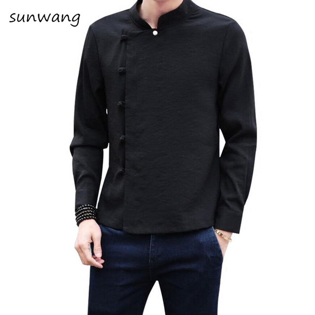 057efa1c6d9 2019 New Unique shirt designs Chinese style linen Long sleeves Oblique  button Mens dress shirts casual
