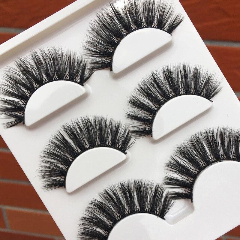 3 pairs Cross Winged Long False Eyelashes Natural Messy Rolled Thick Eyelash Extension Banquet Makeup Tools 3D Fake Eyelashes