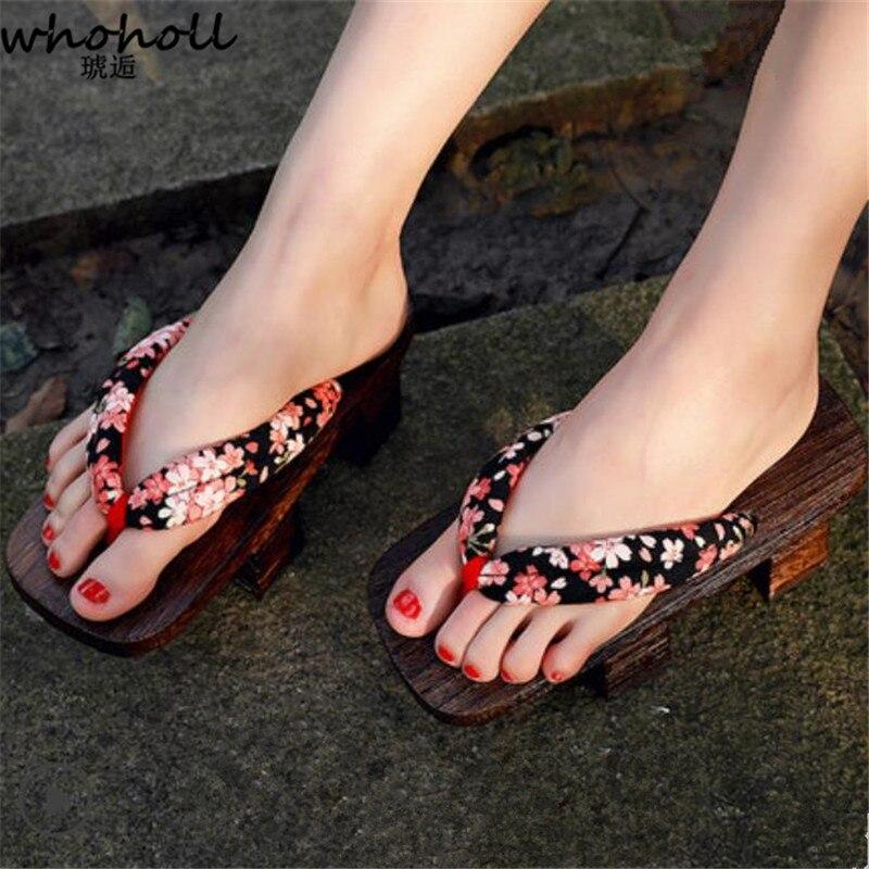 Chanclas Dientes Zapatillas Verano Wholl Madera Mujer Sandalias De Cos Geta Japonesas Plataforma Floarl Estampado Dos 5Rc34jALqS