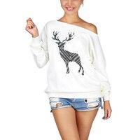 Xmas Womens Loose Pullover Off One Shoulder Sweatshirt Deer Print Sweater Top