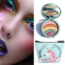 5 Colors Shimmer Eyeshadow  Tray Rainbow Powder Pan-Box With Mirror Cosmetic Bag Makeup Set 120 vivid charming colors eyeshadow with gold leather clutch bag shaped case professional makeup kit cosmetic set