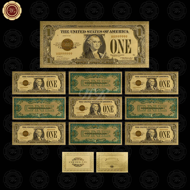 1863 Years Usa 24k Gold Banknotes Plated Us 1 Dollar Bill Collections Bank Notes 10pcs