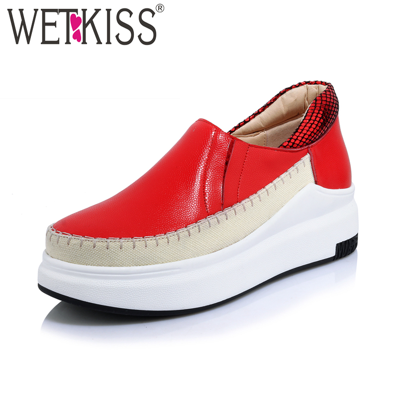 WETKISS New Arrival Genuine Leather Women Flats Square Toe Platform Shoes Basic Handmade Spring Fashion Casual Ladies Shoes new arrival soft leather shoes women flats fashion design square toe comfortable women s flats office ladies brand shoes