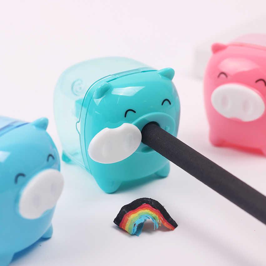 קטן חזיר צבעים בוהקים עיפרון מחדד Creative Kawaii קריקטורה בעלי החיים עיפרון מחדד עבור תלמיד מכתבים מתנה