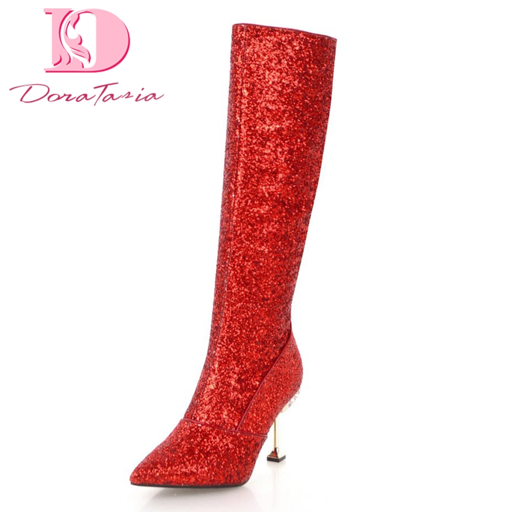 DoraTasia brand new Plus Size 32-43 Sequin Thin high Heels Zip Up Shoes Woman Boots Pointed Toe Party Mid Calf Boots Woman Shoes недорго, оригинальная цена