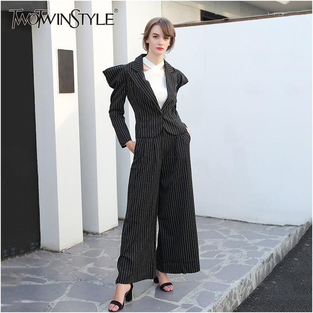 TWOTWINSTYLE Black Striped Broad Shoulders Suits Women Blazer Pantsuit Coat Female Jackets Wide Leg Pants Two Piece Set Autumn