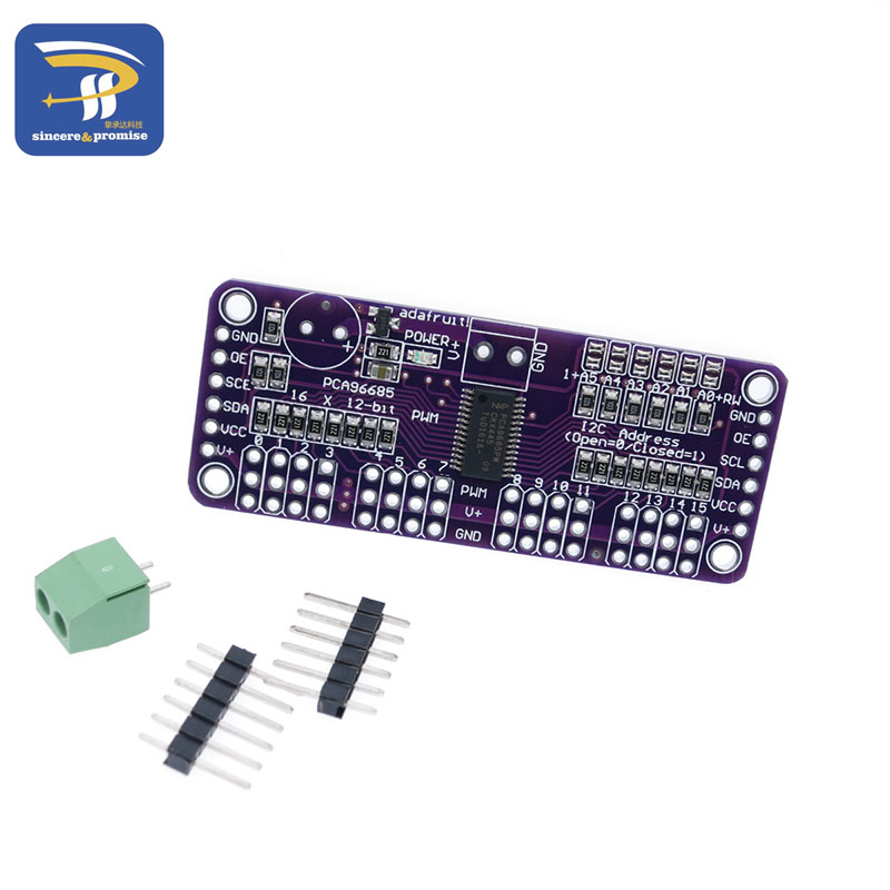 US $1 8 |DIY KIT 16 Channel 12 bit PWM/Servo Driver I2C interface PCA9685  for Raspberry pi shield module servo shield-in Integrated Circuits from