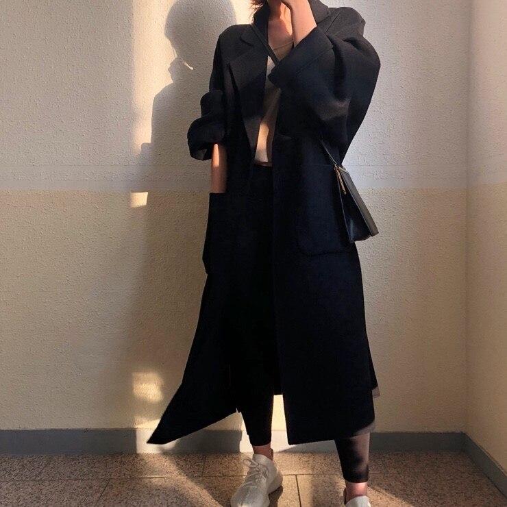 Women Elegant Winter wool Overcoat Long Bandage Woolen Coat Cardigan Loose Plus Size Abrigos Mujer Manteau Femme Hiver 12