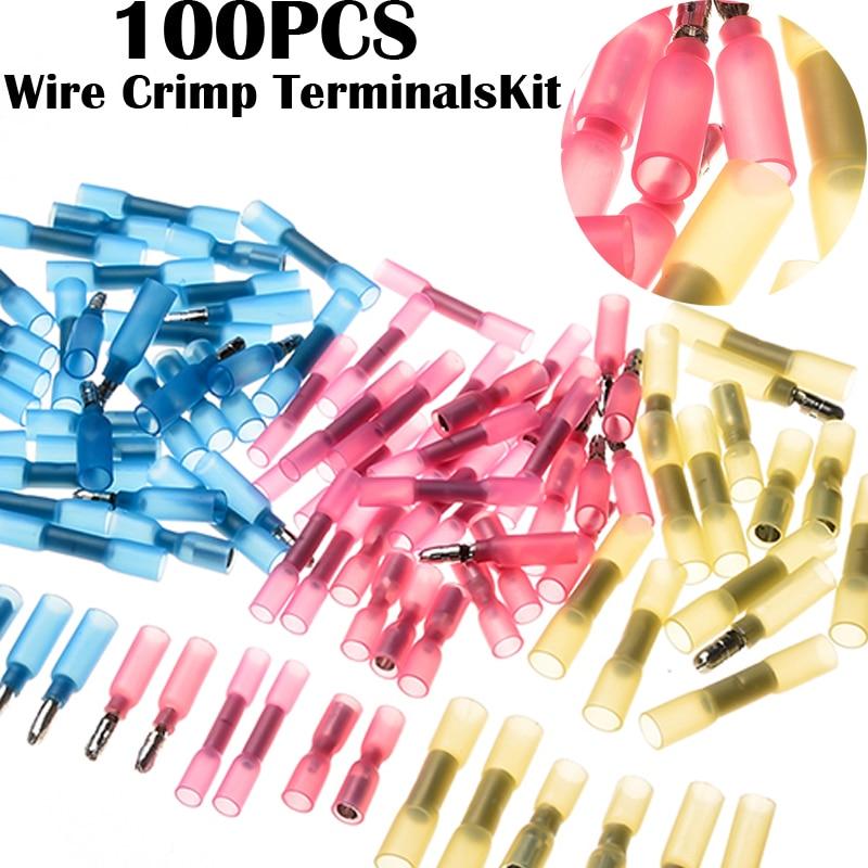 100pcs Waterproof Wire Shrinkable Bullet Connectors 3 sizes Heat Shrink Splice Insulted Crimp Terminals Assortment Set retardant heat shrink tubing shrinkable tube diameter cables 120 roll sale