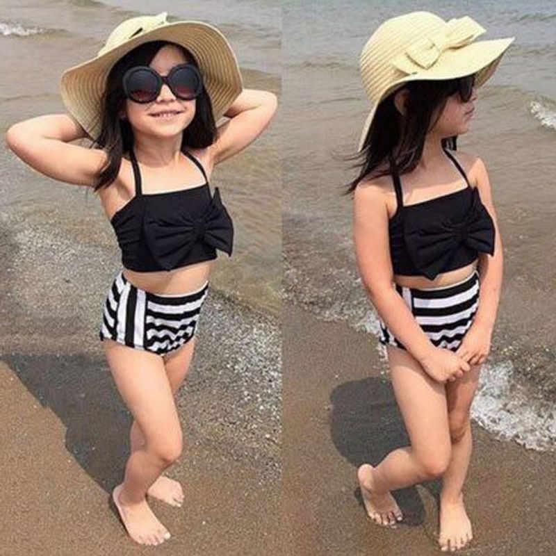 Mooie Baby Meisjes Zomer Zwemmen Strand Dragen Weinig Dames Halter Stijl Hoge Taille Gestreepte Badpak Badpak