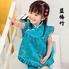 Летнее платье в китайском стиле с хризантемами для девочек винтажное