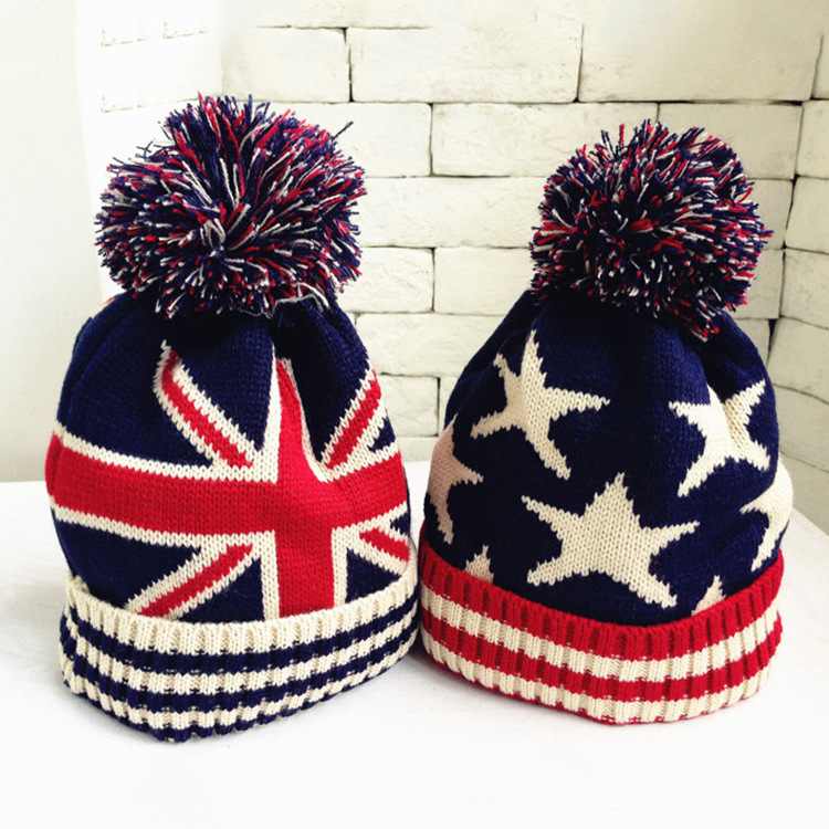 Cheap Usa American Flag Beanie Hat Wool Winter Warm Knitted Caps And Hats For Boy And Girl Skullies Cool Beanies Wholesale