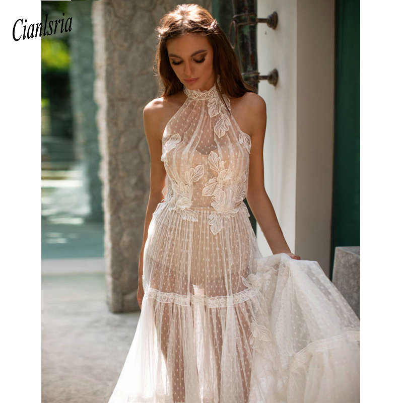See Through Wedding Gown: Sexy Illusion Travel Wedding Dress A Line Wedding Gown