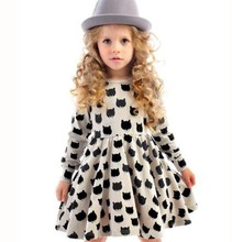 New 2016 Summer Cat Dots Printed Girl Dress Black & White One Piece Kids Girls Clothing For Princess Infant Baby Girls Clothes