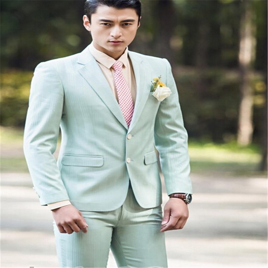 skinny suit Men\'s dress light green groom married male suit men\'s ...